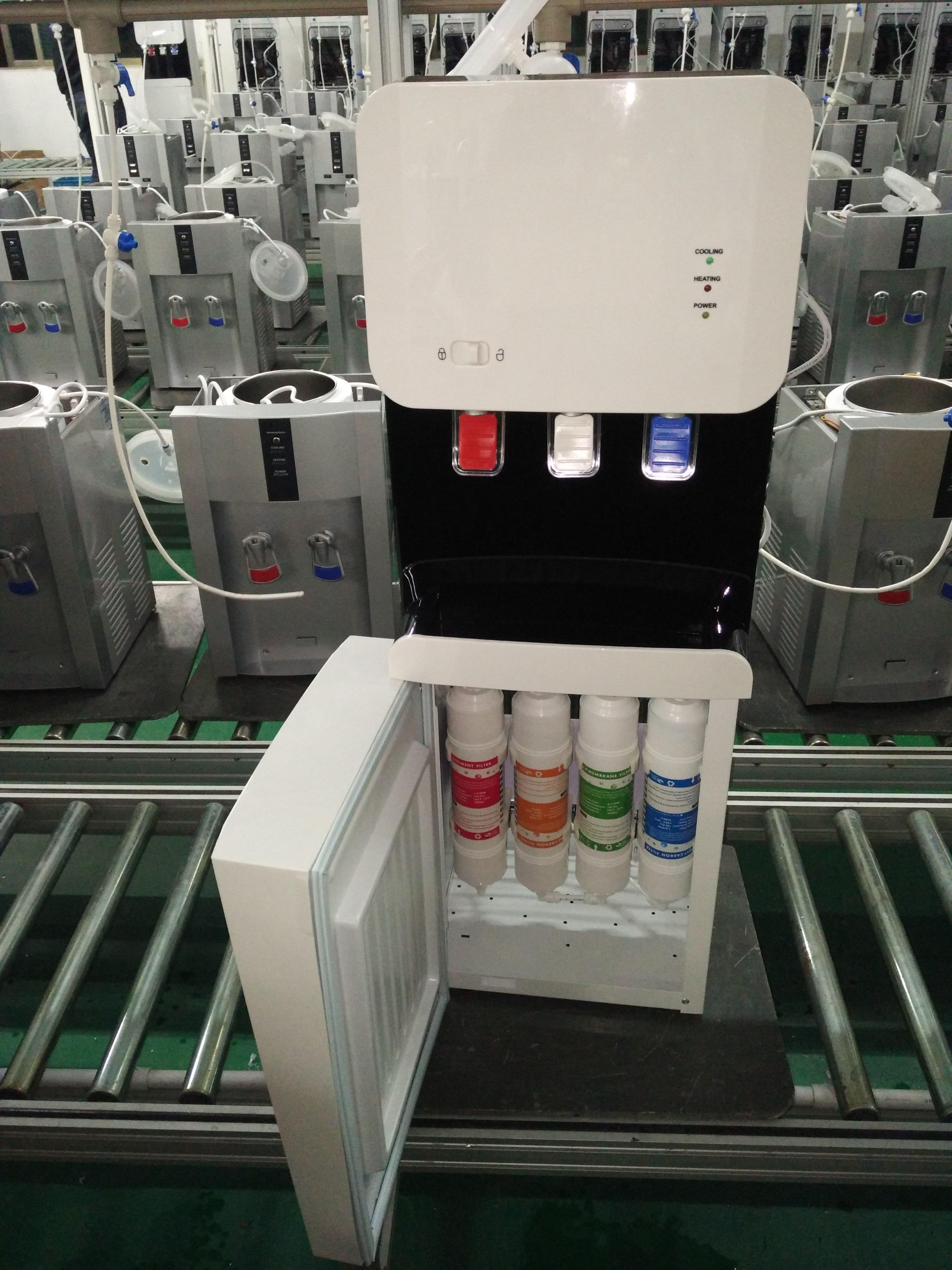 Floor standing compressor cooling water dispenser
