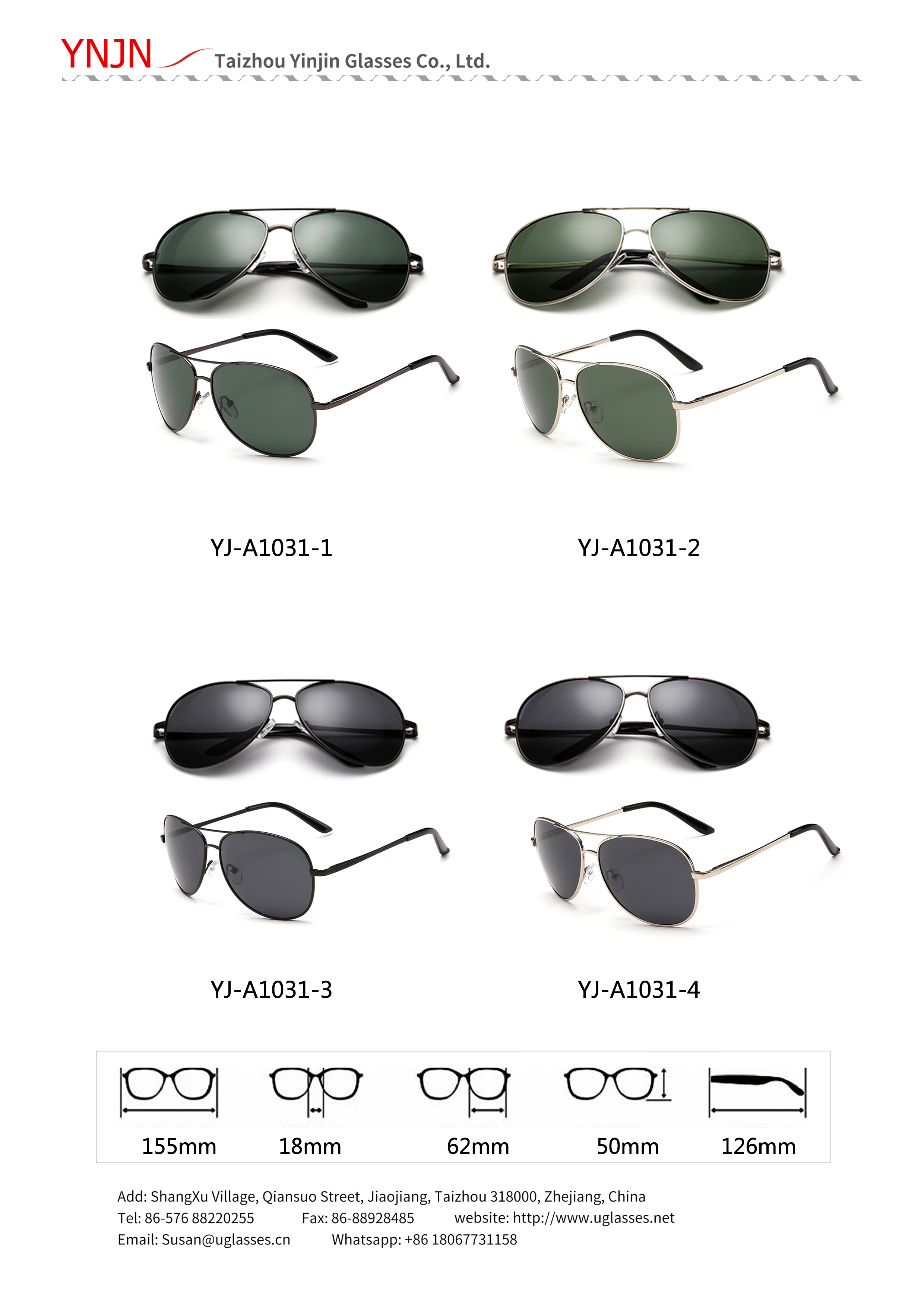 Taizhou Yinjin men sunglasses catalogs
