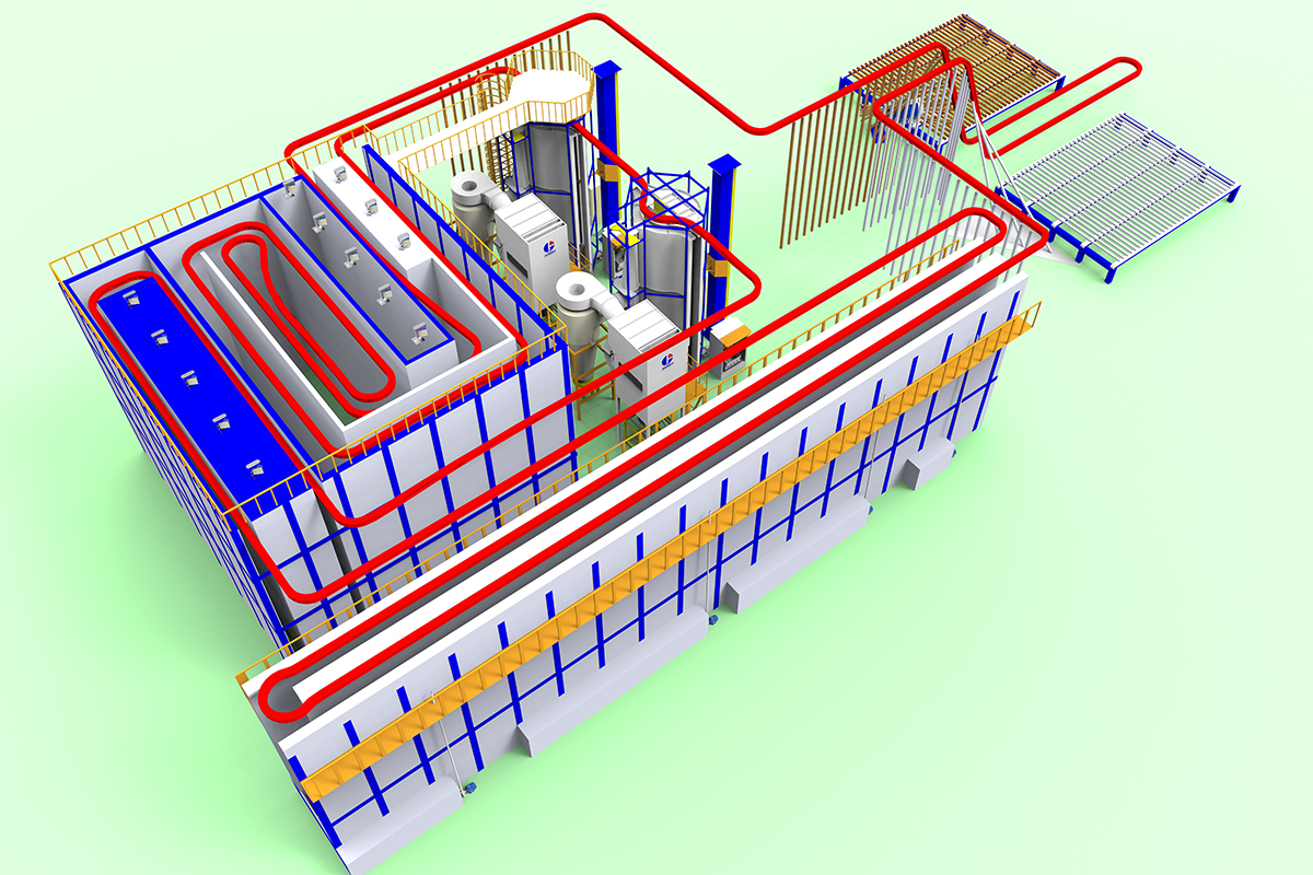 vertical aluminum powder coating line