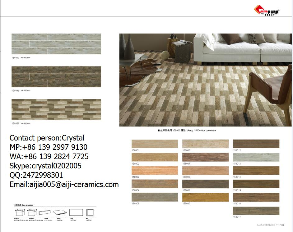 Porcelain wood look tiles