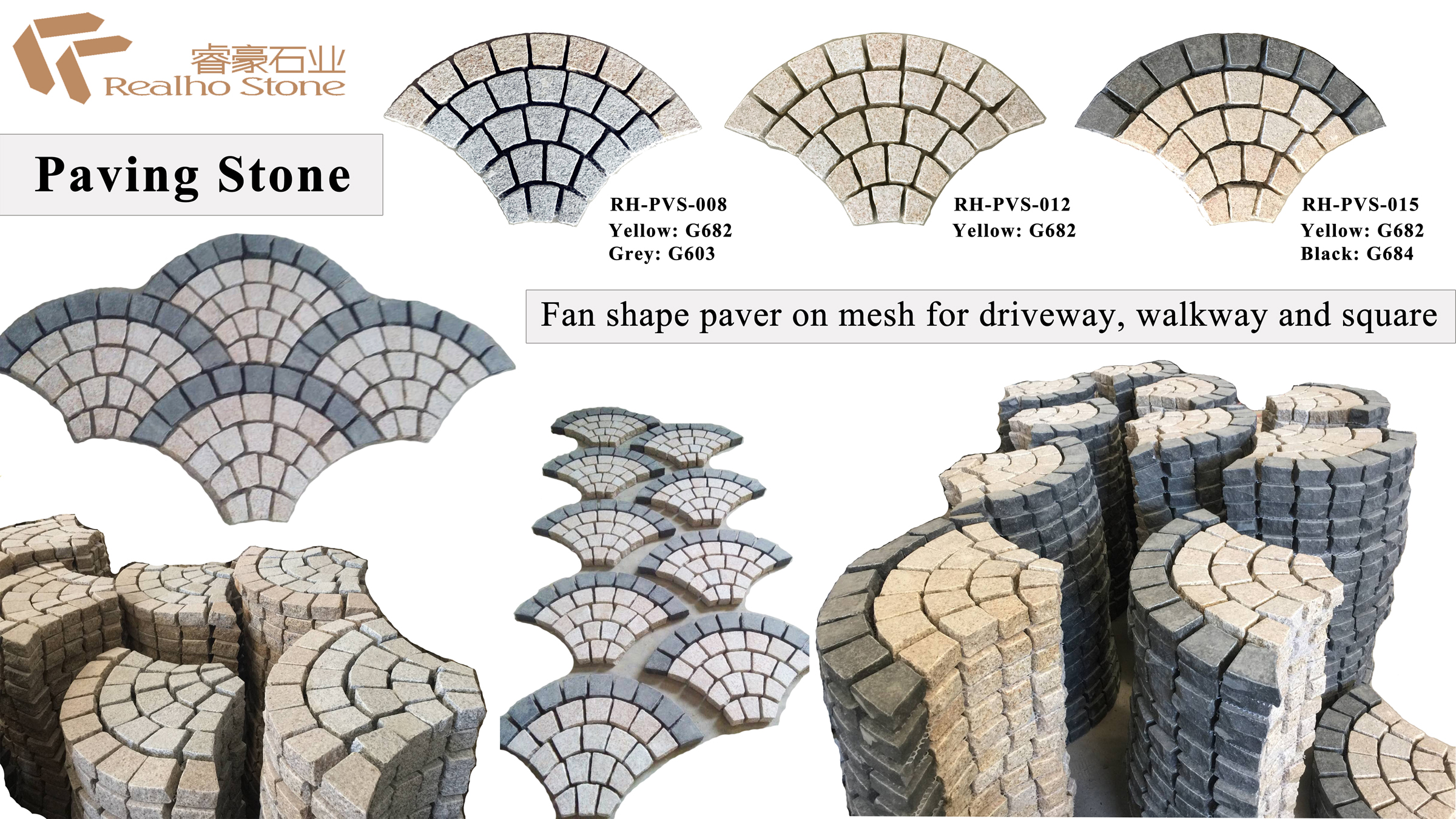 Paver Stone on Mesh-Fan Pattern