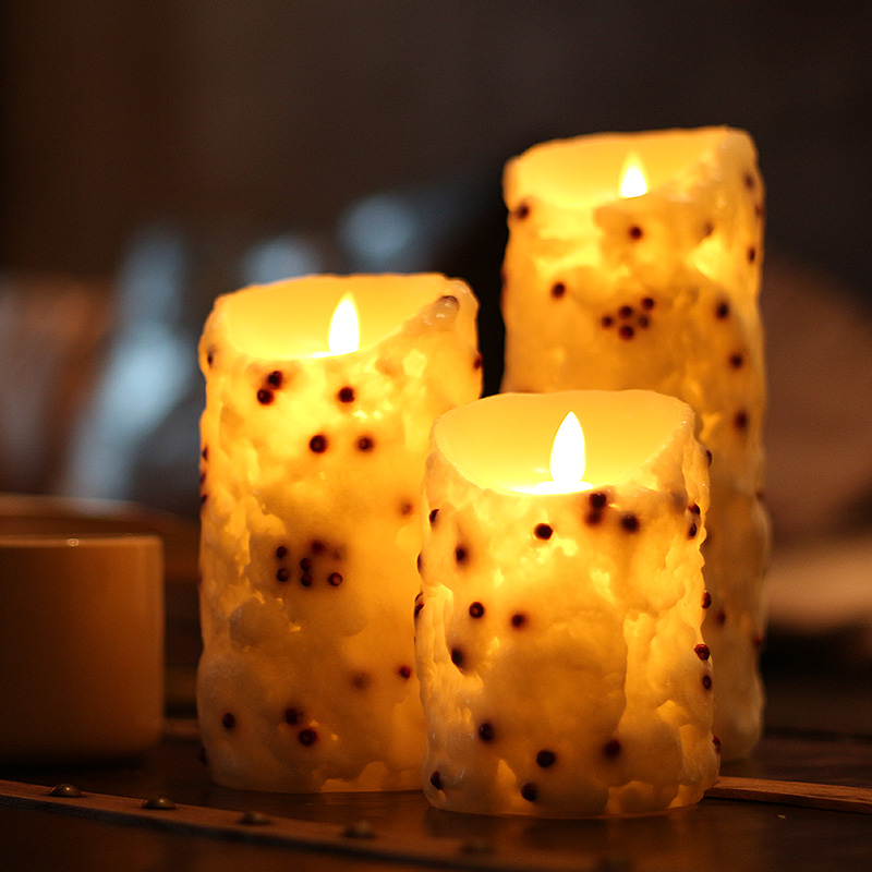 Red Bean Swing Pillar Flameless Candle