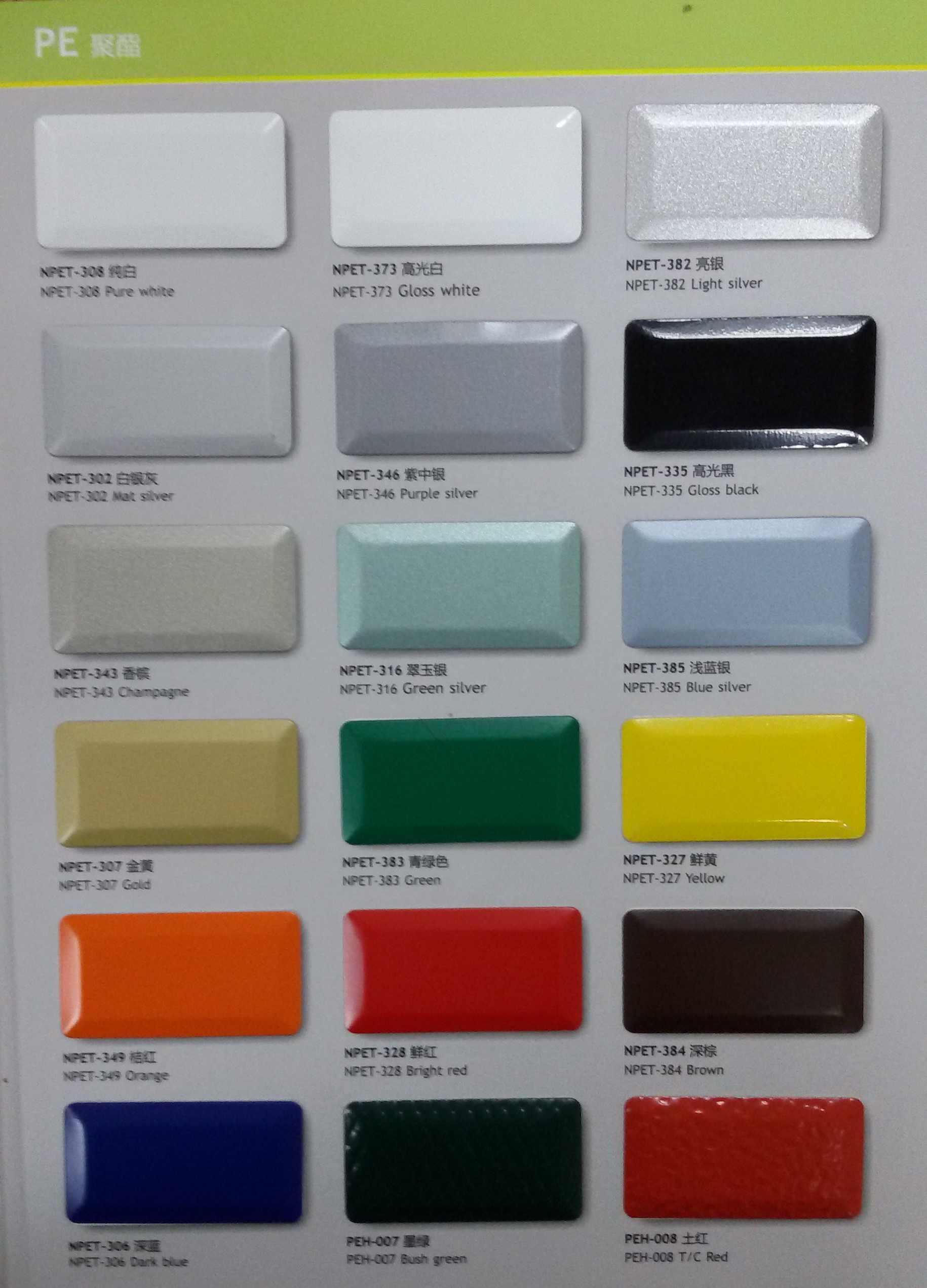 Color Chart Aluminum coil