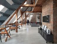 Beauty of Brick Walls and Timber Structure: Apartment in Poznan