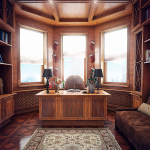 Elegant Traditional Home Office Clad With Wood