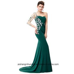 Le crépuscule renversant de bord de sirène de Sequin de Champagne labourent la robe de soirée formelle de robe d'aube