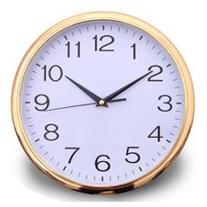 Relógio de Parede de Plástico Redondo de Impressão Logotipo de Frame de Ouro (Item12)