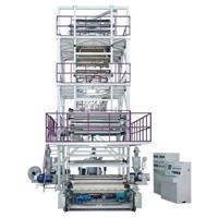 Trois machine de soufflement de film d'extrusion de la couche Co