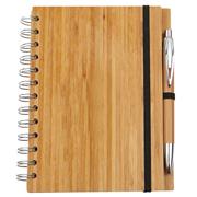 Bloco de notas de bambu natural com caneta de bambu