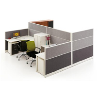 Partition blanche moderne populaire chaude de poste de travail de bureau de 4 portées (HY-P06)