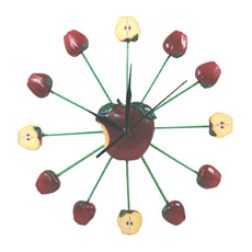 Relógio de Parede Redondo Polyresin em Forma de Maçã