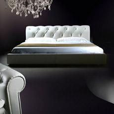 Divany Leather Bed Antique King en cuir (LS-408)