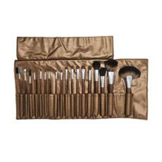 Conjunto de escova de maquiagem profissional 18PCS com bolsa Golden-Brown