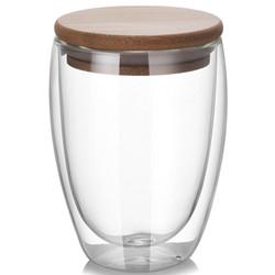 Copo de chá de vidro de parede dupla de 350 ml (12 oz)