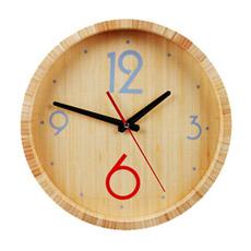 Relógio de Parede Redondo de Bambu para Decoração