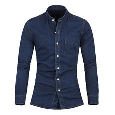 Camisa ocasional lavada de los pantalones vaqueros del dril de algodón del algodón de los hombres de la manera