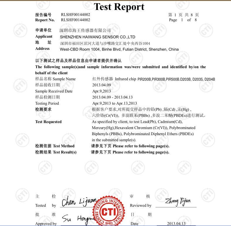 Test report for pir sensor