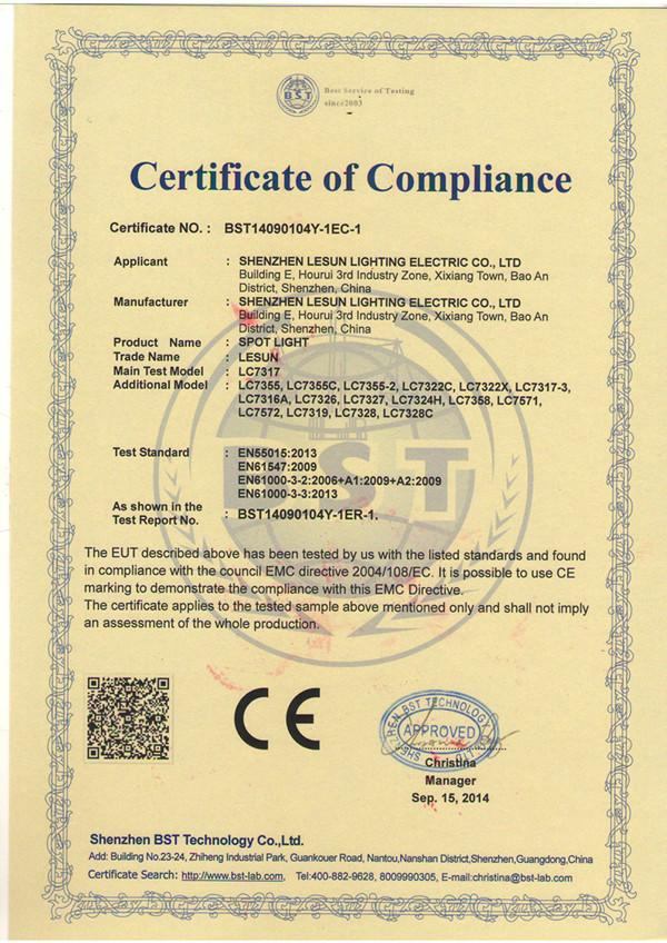 CE(EMC) of LESUN Standing Spotlight