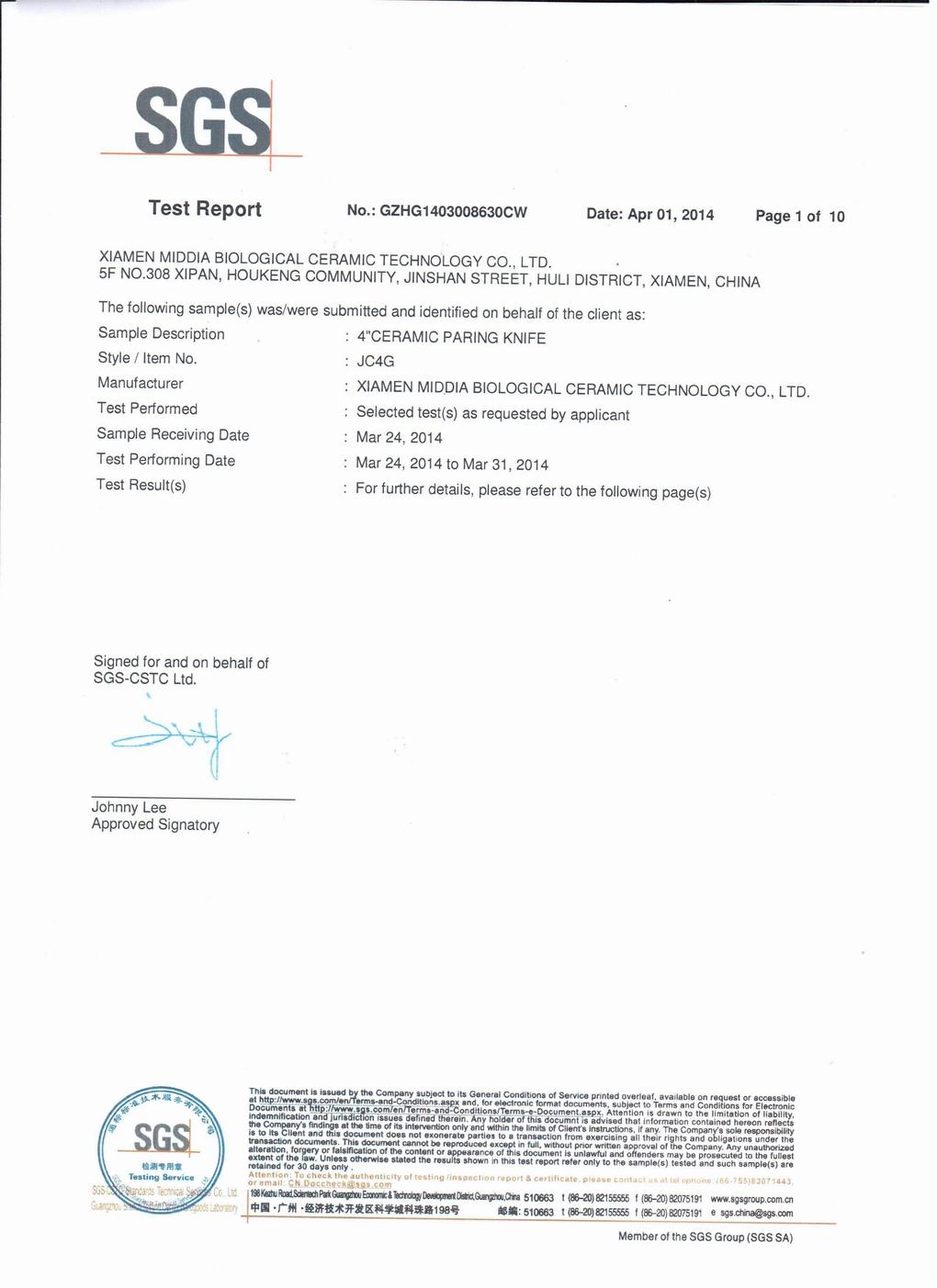 SGS Certificate(Middia Ceramic Knife)