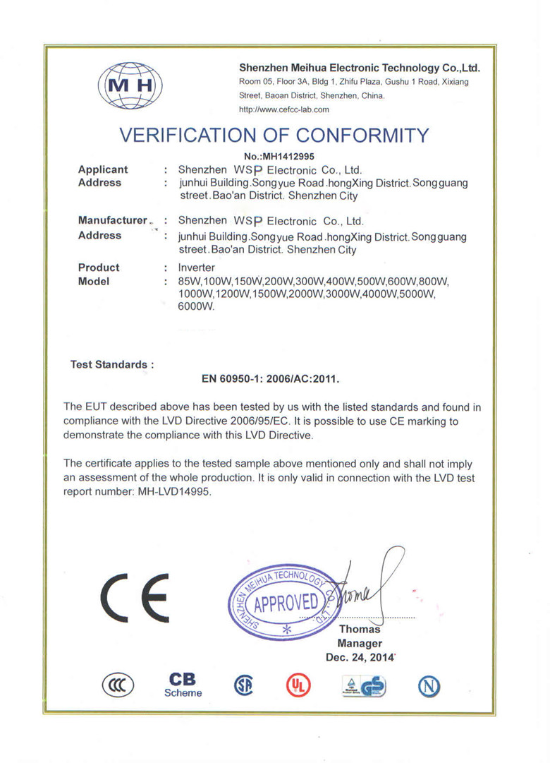 CE certification of inverter