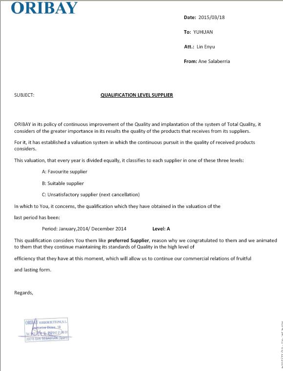 Qualification Level Supplier (Level a)