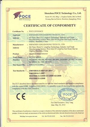 Hand-held metal detector CE certificate