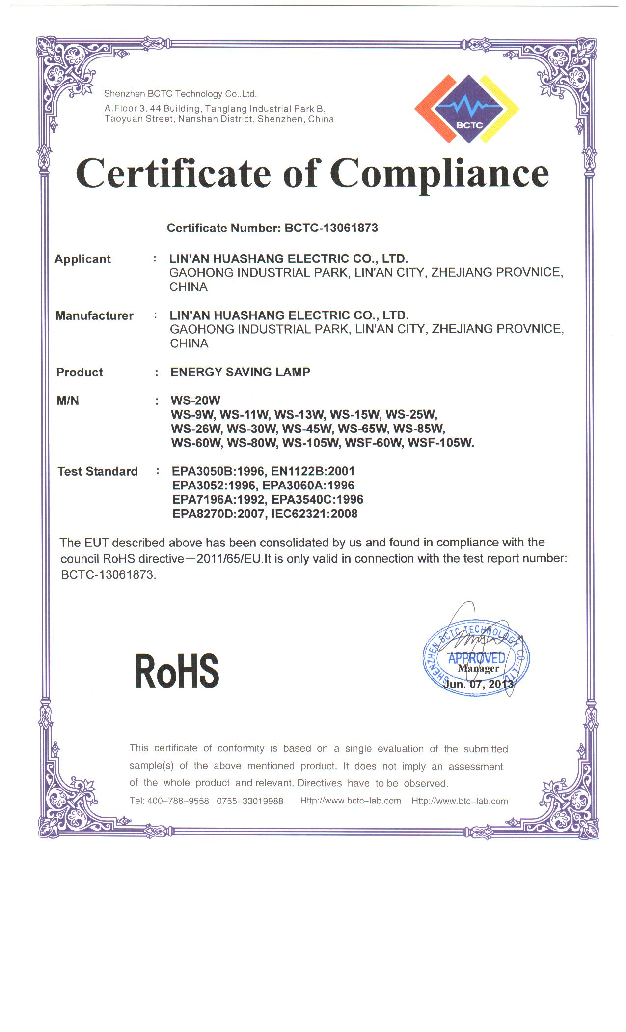 RoHS certification for CFL