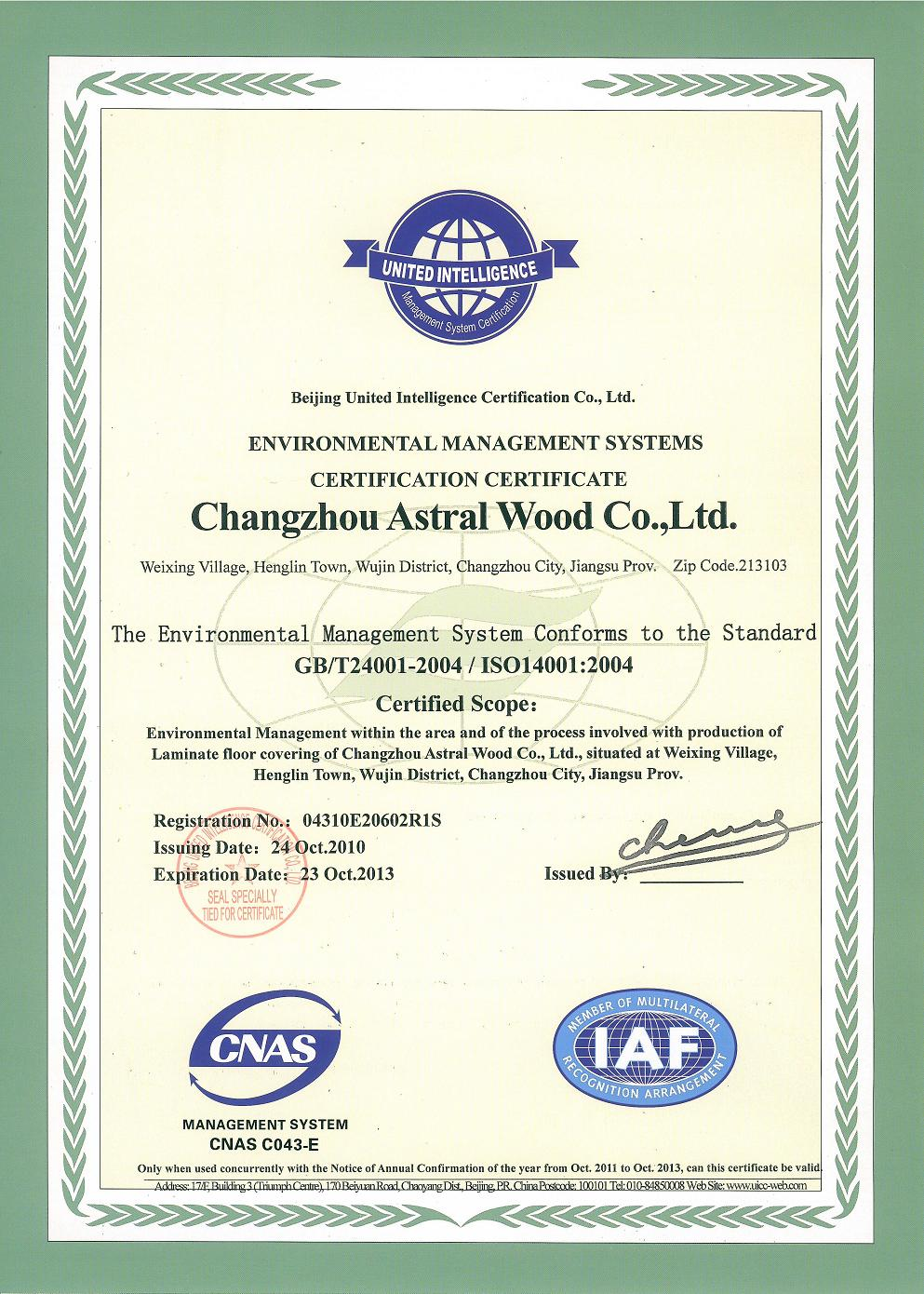 Certifacate of astral