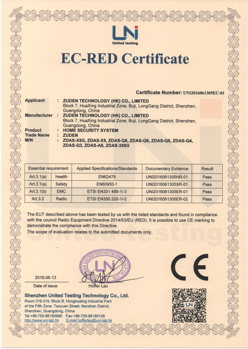 CE Certificate of Home Security System