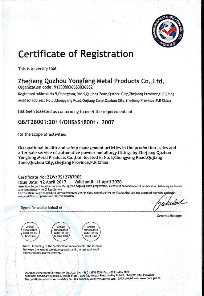 YONGFENG GB/T28001:2011