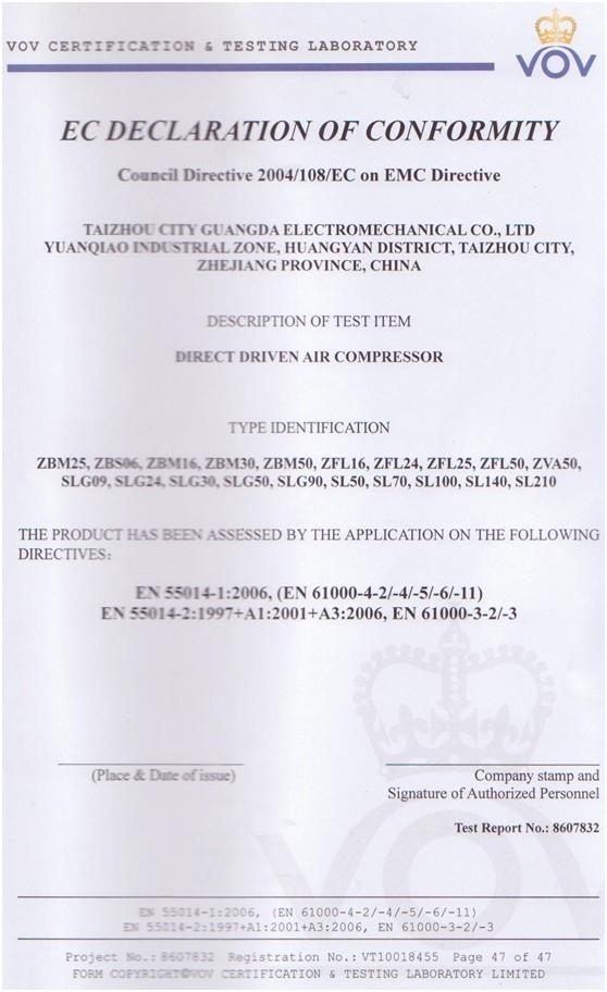 Direct Driven Air Compressor VOV Certificate