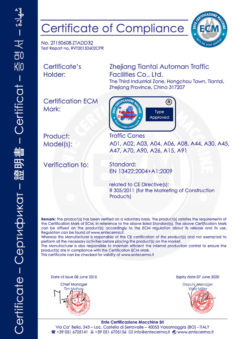 CE Certificate for the Traffic Cones