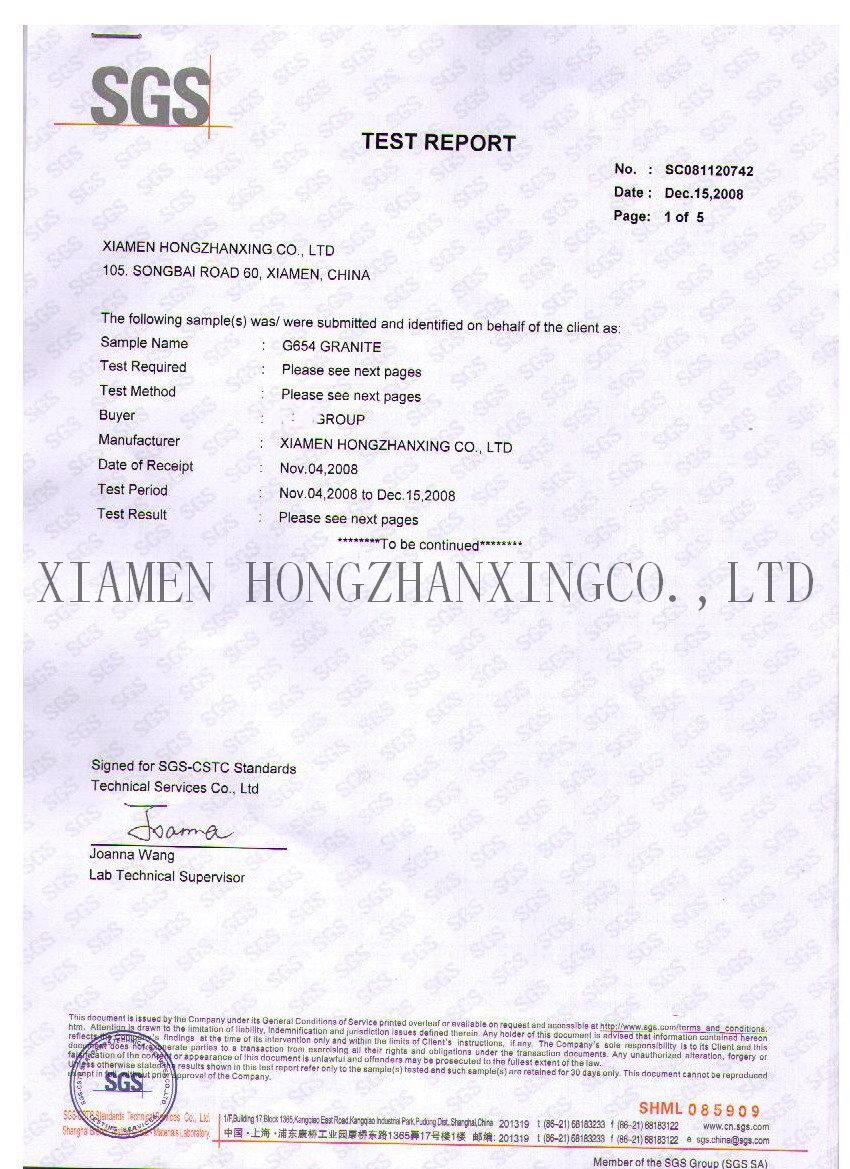 G654 padang dark HZX SGS certificate technical data