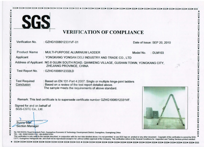 Multi-Purpose Ladder Certification SGS
