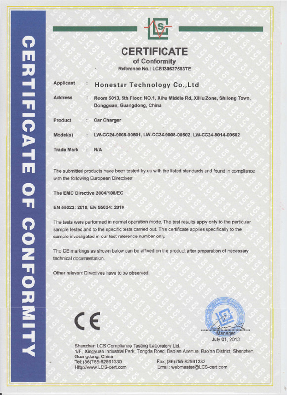 CE01 certificate of car charger