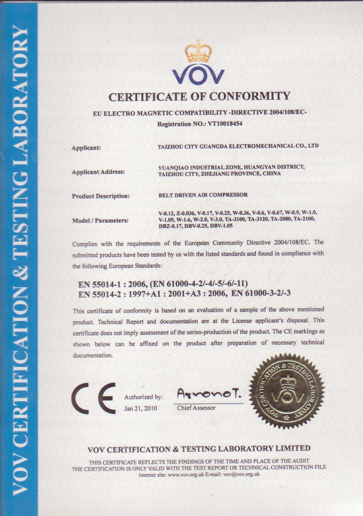 Belt Driven Air Compressor CE Certificate