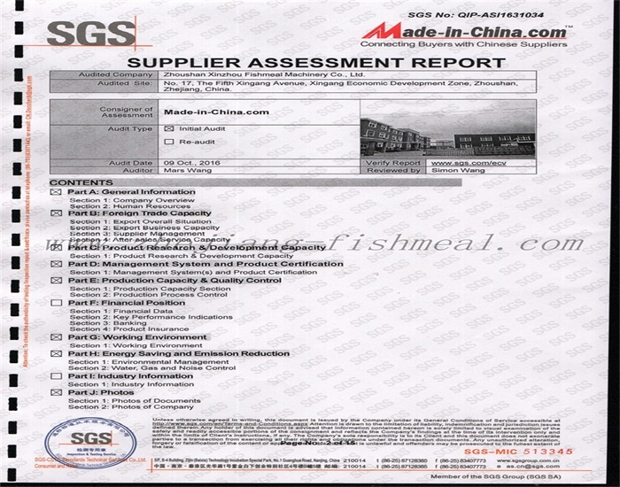 fishmeal production line with SGS certification