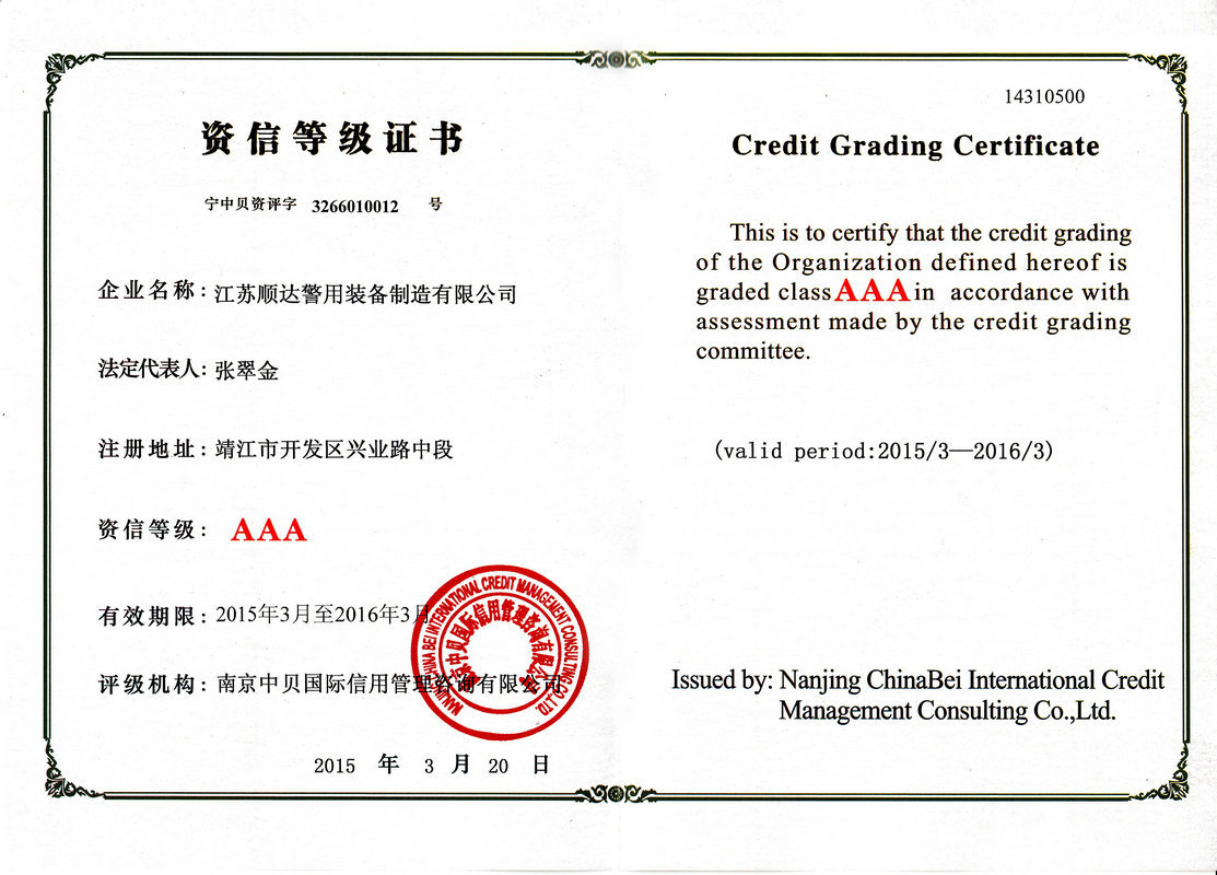 Certificate of credit rating