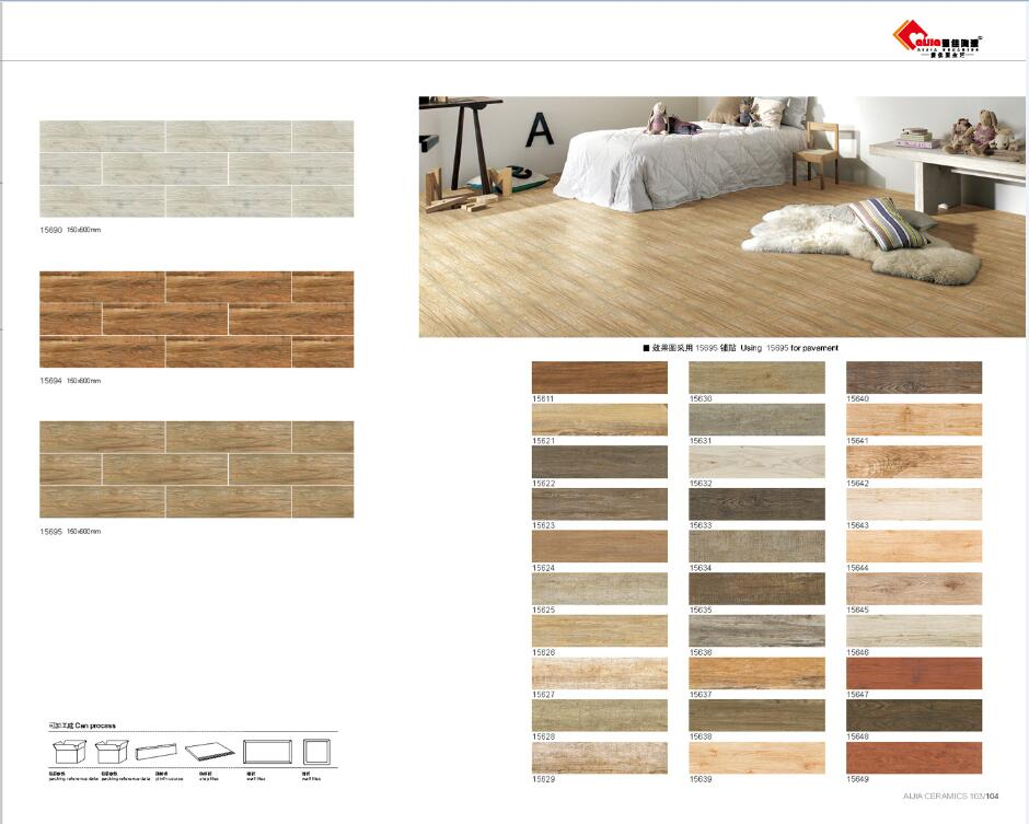 Porcelain wood look tiles