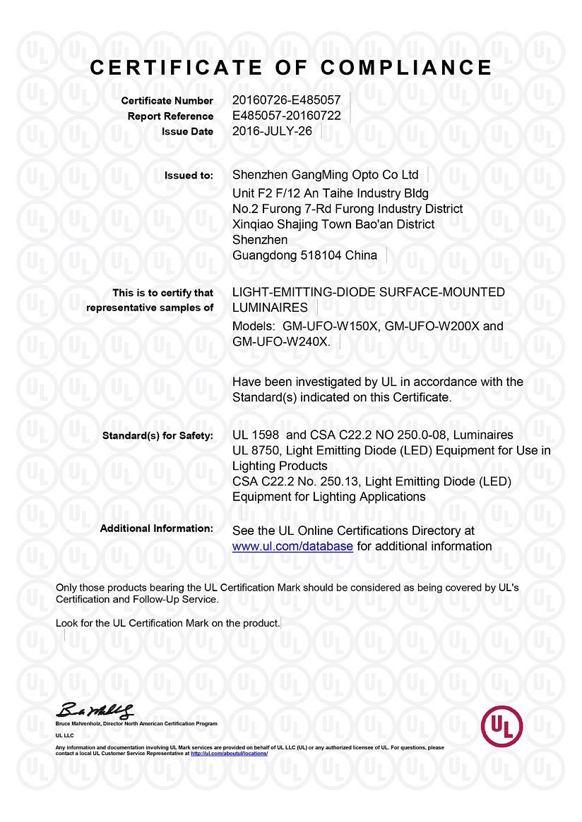 UL/cUL certificate for UFO LED high bay lights