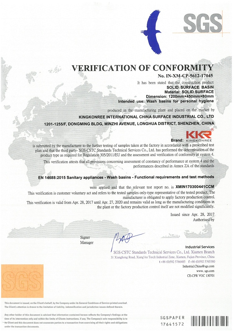 Solid Surface Basin CE certificate