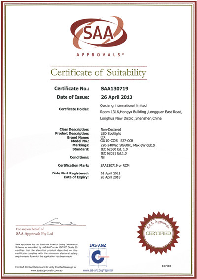 SAA certification