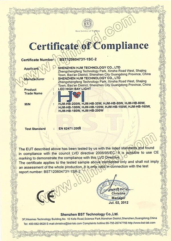 HJM LED High Bay Light CE Certification