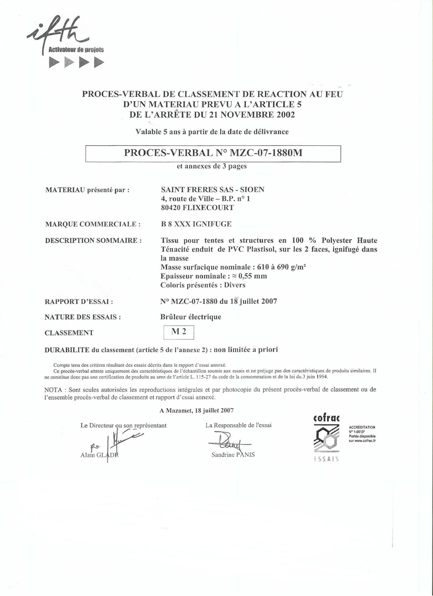 M2 flame retardant certificate