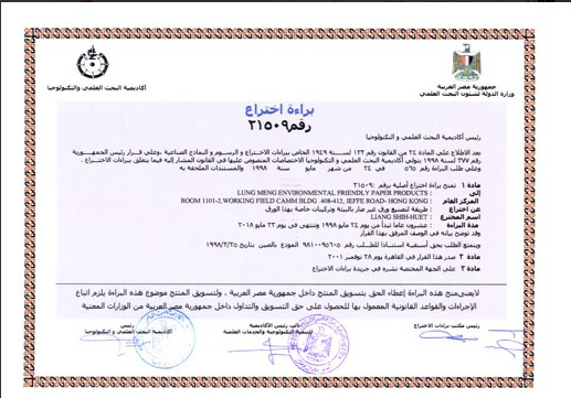 Egypt Patent Certificate