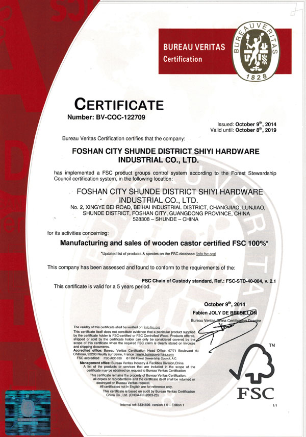 Manufacturing and sales of wooden castor certified FSC 100%