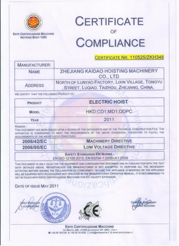 CE Certificate --Kaidao Hoisting
