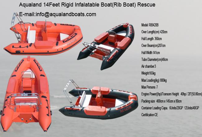 aqualand 14feet 4.3m rigid inflatable rescue boat/rib motor boat
