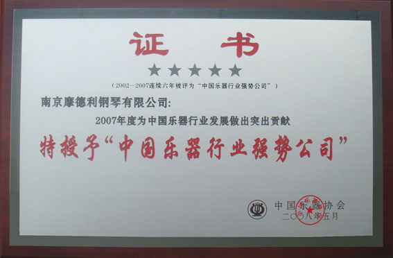 Musical Instrument Industry Puissant Enterprises Certificate