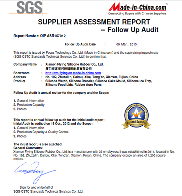 Supplier assessment report audited by SGS
